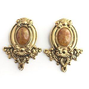 Big Fab Earrings 1970s Glam Vintage Gold Earrings